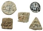 reverse:   Lotto di 5 tessere di piombo, II metà del I secolo a.C.