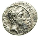 obverse:  Augusto (27 a.C-14 d.C) Quinario, 28 a.C.