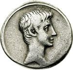 obverse:  Augusto (27 a.C-14 d.C). Denario, prima del 27 a.C. (?) Zecca incerta.