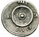 reverse:  Augusto (27 a.C-14 d.C). Denario, prima del 27 a.C. (?) Zecca incerta.