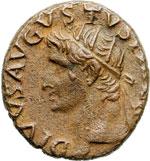 obverse:  Augusto (27 a.C-14 d.C). Asse emesso da Tiberio.