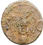 reverse:  Augusto (27 a.C-14 d.C). Asse emesso da Tiberio.