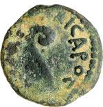 obverse:  Tiberio (14-37 d.C.). Prutah, AE 14 mm. Palestina. Procuratore Ponzio Pilato, 30 d.C.