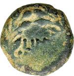 reverse:  Tiberio (14-37 d.C.). Prutah, AE 14 mm. Palestina. Procuratore Ponzio Pilato, 30 d.C.