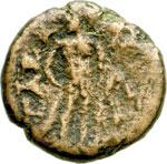 reverse:  Antonino Pio (138-161) (?) AE 16 mm. Gaza, Palestina.