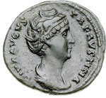 obverse:  Faustina Madre, moglie di Antonino Pio (deceduta nel 141 d.C) Asse o dupondio.