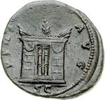 reverse:  Faustina Madre, moglie di Antonino Pio (deceduta nel 141 d.C) Asse o dupondio.