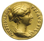 obverse:  Faustina figlia, moglie di Marco Aurelio, figlia di Antonino Pio e Faustina (deceduta nel 176 d.C.) Aureo.