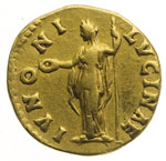 reverse:  Faustina figlia, moglie di Marco Aurelio, figlia di Antonino Pio e Faustina (deceduta nel 176 d.C.) Aureo.