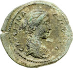 obverse:  Crispina, moglie di Commodo (deceduta nel 183 d.C.). Asse o dupondio