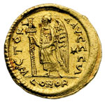 reverse:  Anastasio I (491-518). Solido, Costantinopoli.