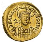 obverse:  Anastasio I (491-518) Solido, Costantinopoli.