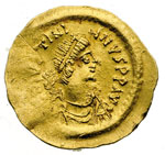 obverse:  Giustiniano I (527-565) Tremisse, Costantinopoli.