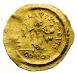 reverse:  Giustiniano I (527-565) Tremisse, Costantinopoli.