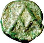 reverse:  Giustiniano I (527-565) Nummo, Cartagine.