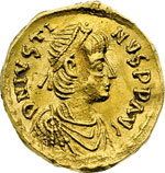 obverse:  Giustino II (565-578) Tremisse, Costantinopoli.