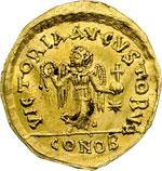reverse:  Giustino II (565-578) Tremisse, Costantinopoli.