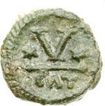 reverse:  Maurizio Tiberio (582-602) Pentanummo, Catania.