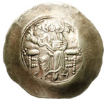 obverse:  Giovanni II Comneno (1118-1143) EL aspron trachy, Costantinopoli.