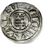 reverse:  Gerusalemme  Baldovino III (1143-1163) Denaro.