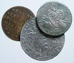 obverse:  Bologna  Pio VII (1800-1823) Lotto di 3 monete: Pio VI baiocco 1795, Pio VII scudo (AG) 1818  e baiocco 1816.