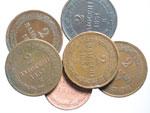 obverse:  Bologna  Pio IX  (1846-1878) Lotto di 6 monete: 2 baiocchi 1851, 52 (3), 53 e baiocco 1846