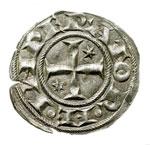obverse:  Brindisi  Enrico IV (1194-1197) Denaro a nome di Enrico e Costanza.