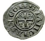 obverse:  Brindisi  Federico II (1197-1250) Denaro per il matrimonio con Costanza d Aragona.