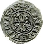 reverse:  Brindisi  Federico II (1197-1250) Denaro per il matrimonio con Costanza d Aragona.
