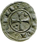obverse:  Brindisi o Messina  Federico II (1197-1250) Denaro 1242.