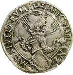obverse:  Carmagnola  Michele Antonio di Saluzzo (1504-1528). Cornuto