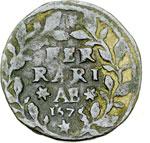 reverse:  Ferrara  Clemente X (1670-1676) Mezzo baiocco 1675