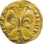 obverse:  Firenze  Repubblica (1189-1532) Fiorino stretto 1335. Segno: torretta (Lapaccio del Bene)