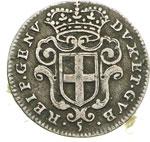 obverse:  Genova  Dogi Biennali (1528-1797) 5 soldi 1671.