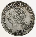 obverse:  Carlo Emanuele III (1730-1773) Quarto di scudo sardo 1770, Torino.