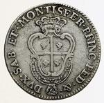 reverse:  Carlo Emanuele III (1730-1773) Quarto di scudo sardo 1770, Torino.