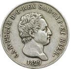 obverse:  Carlo Felice (1821-1831) 5 lire 1829 T