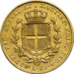 reverse:  Carlo Alberto (1831-1849). 20 lire 1840 T