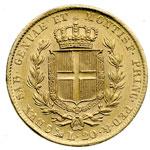 reverse:  Carlo Alberto (1831-1849) 20 lire 1849 G