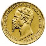 obverse:  Vittorio Emanuele II (1849-1861) 20 lire 1855 T.