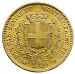 reverse:  Vittorio Emanuele II (1849-1861) 20 lire 1855 T.