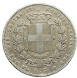 reverse:  Vittorio Emanuele II (1849-1861) 5 lire 1853 G.