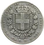 reverse:  Vittorio Emanuele II (1849-1861) 5 lire 1856 G.