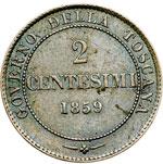 reverse:  Vittorio Emanuele II (1859-1861) 2 centesimi 1859.