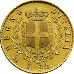 reverse:  Vittorio Emanuele II (1861-1878) 20 lire 1876 R.