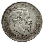 obverse:  Vittorio Emanuele II  (1861-1878) 5 lire 1864 N.