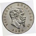 obverse:  Vittorio Emanuele II  (1861-1878) 5 lire 1876.