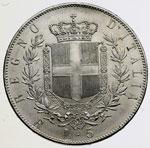 reverse:  Vittorio Emanuele II  (1861-1878) 5 lire 1876.