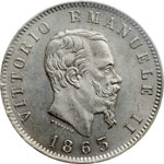 obverse:  Vittorio Emanuele II  (1861-1878) Lira 1863 M.