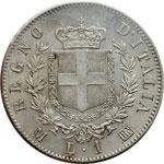 reverse:  Vittorio Emanuele II  (1861-1878) Lira 1863 M.